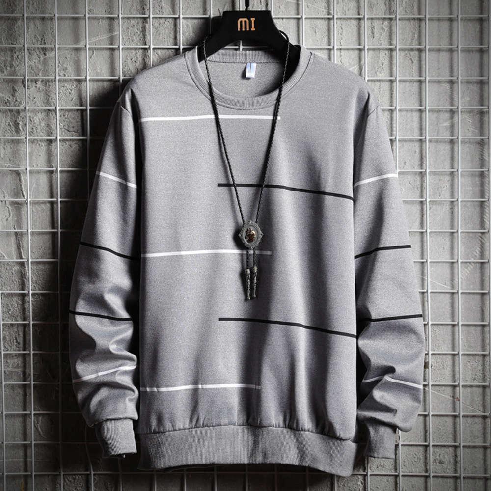 Herrenbekleidung Herbst und Winter 2019 Neue koreanische breite Schulter Rundhals Hals langarm Gestreifte hübsche Pullover Mode Marke