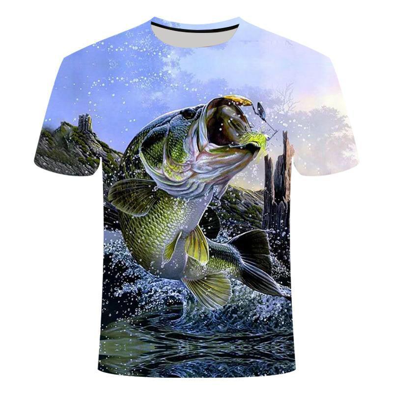 2019 nouveau style décontracté numérique 3D imprimé poisson t-shirt hommes femmes Fish T-shirt été T-shirt à manches courtes Hauts de pêche et tees