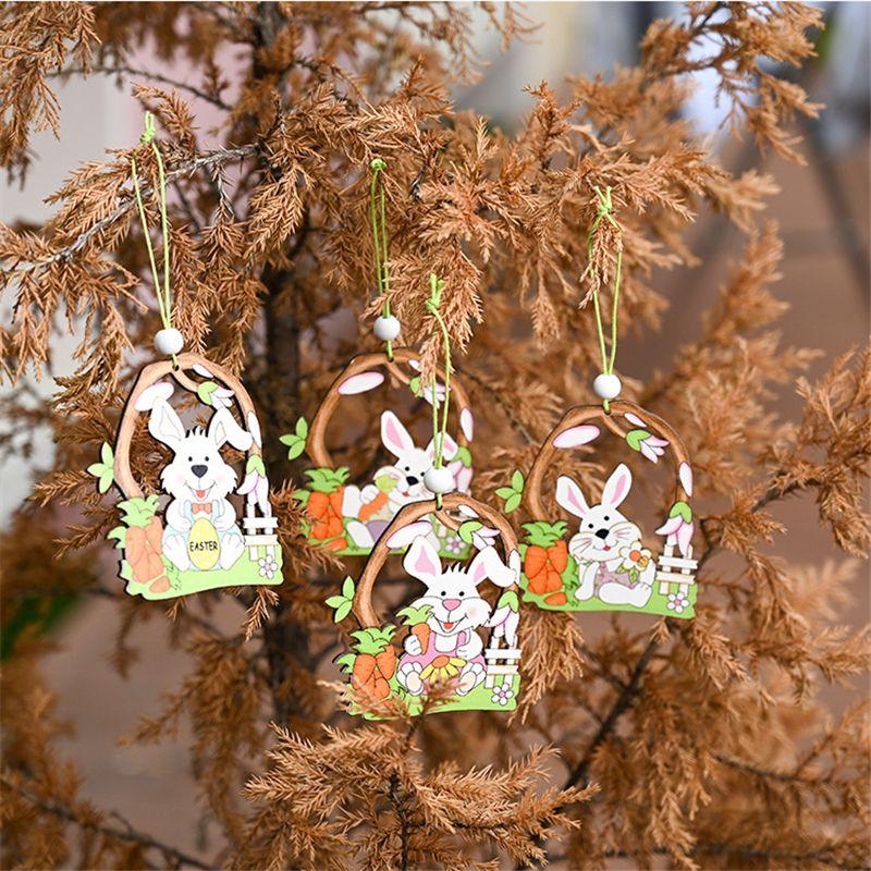 Pascua madera colgando adornos conejito decoraciones pollo huevo flor con cordón para decoraciones de fiesta de Pascua Regalo de los niños JK2102KD