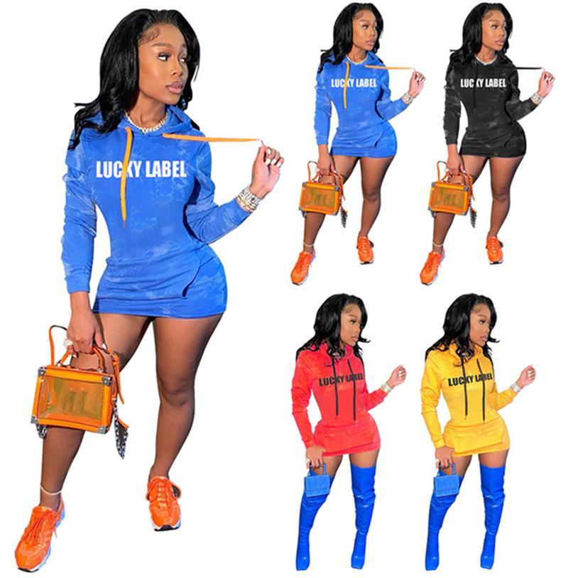 Plus taille 2XL Femmes Lucky Label Robes à capuche Mini Sexy Manches longues Print Plaque Slim Robes Nuit Club Été Vêtements occasionnels 4503