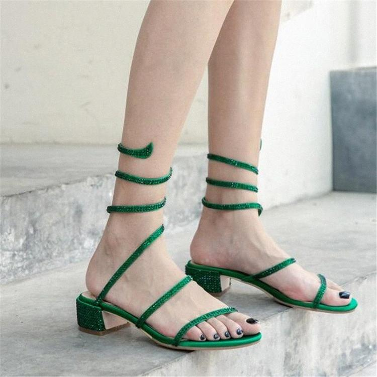 Pxelena 6 Candy Color Deisgner Kristall Nieten Schlangenförmige Sandalen Frauen Seide Kubanische Tiefe Heels Party Dress Date Schuhe Dame 2019 Q3OS #