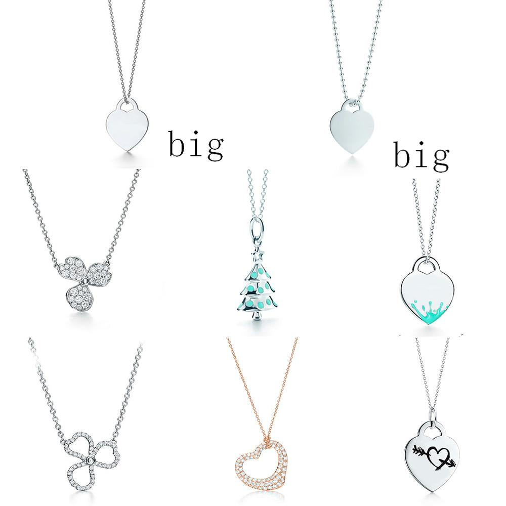 NEW 100% 925 Sterling Silver Christmas Tree Rose Gold Love Necklace Flower Rhyme Series Paved Diamond Flower Pendant Necklace