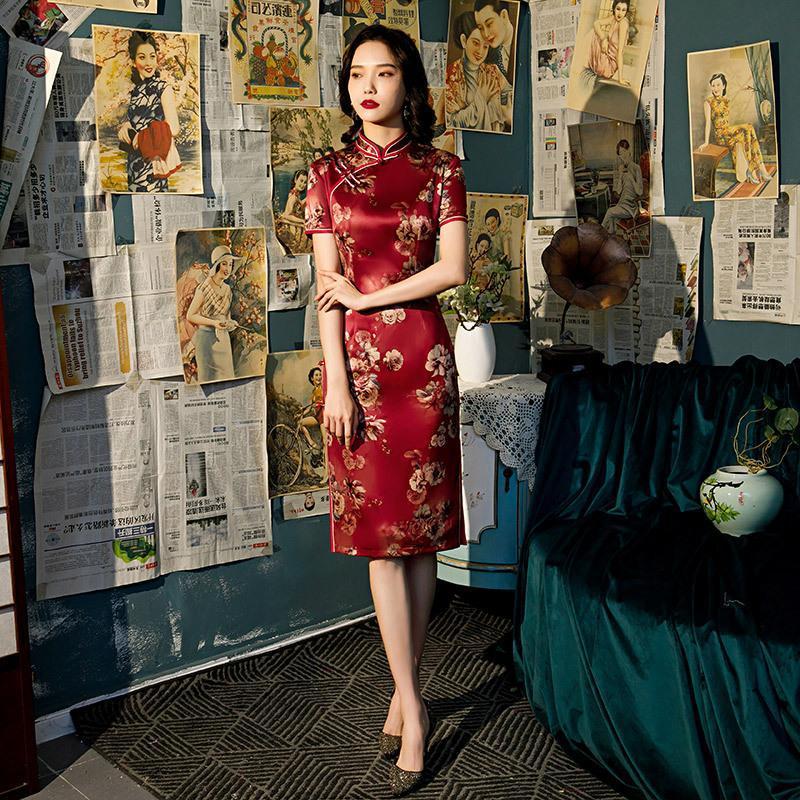 Ropa étnica Fzslyiyi China Vintage Manga corta elegante Impreso Rayón Satin Qipao Soporte Collar Cheongsam Damas Fiesta Split Boda D