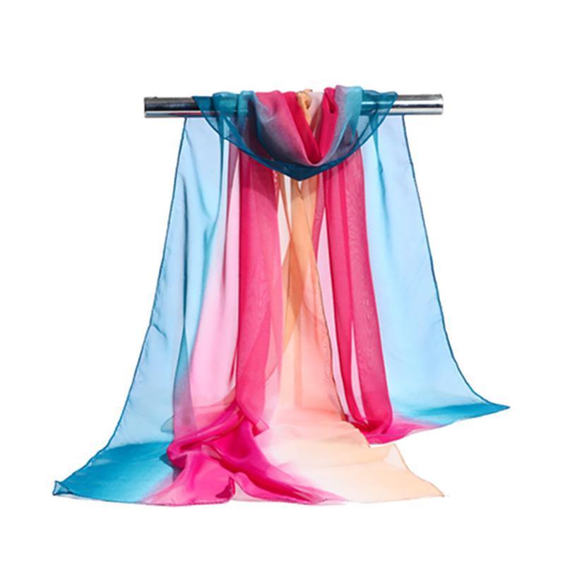 Шарфы модные градиентные цветные шарф женщины шифон длинный шаль летом дышащий пляжный солнцезащитный защита элегантный