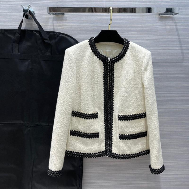 유럽과 미국 여성 2021 겨울 새로운 컬렉션 긴 소매 화이트 브로치 유행 트위드 코트