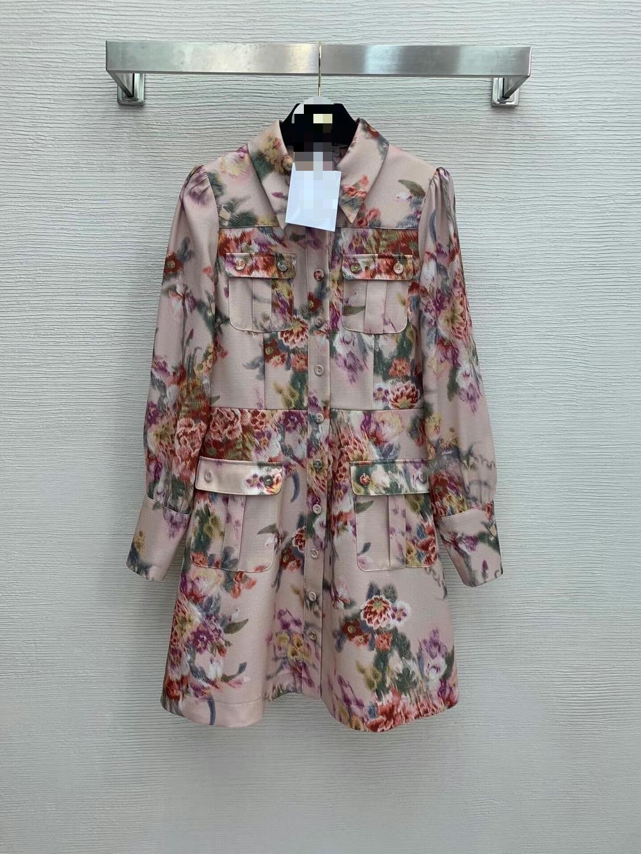 310 2021 MILANO Stile di Milano Trasporto libero Autunno Brand Same Style Dress Abito a maniche lunghe Pannelli collo collo poliestere Weinishi
