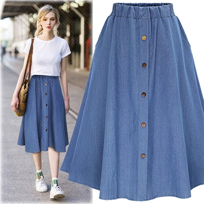 Fashion Korean Preppy Style Denim Saias Mulheres Cor Sólida Saia Longo Natureza Cintura Feminino Big Hem Casual Jean Skirt 210315