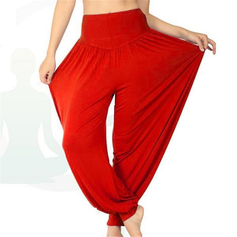 Verano Nueva moda para mujer Elástico suelto Casual Modal Danza suave Harem Mid Cintura Pantalones Comfy Boho Pantalones