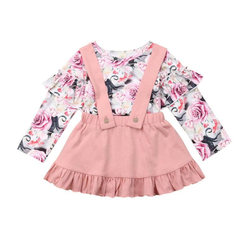 Baby Kinder 1-6YEARS Kleinkind Baby Mädchen Herbst Kleidung Rüschen Blumendops Tutu Kleid Gesamt Outfit