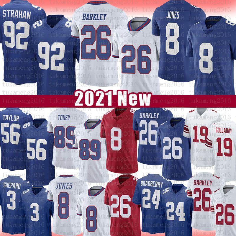 "Kenny Golladay Saquon Barkley Daniel Jones Football Jersey New Lawrence Taylor James Bradberry Michael Strahan Kadarius Toney York ""Giants"" Sterling Shepard"