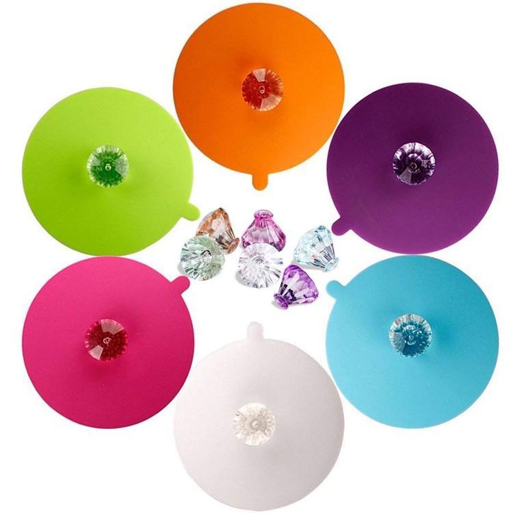 Силиконовые чашки крышки алмазные многоразовые кружка крышка анти пыль герметичный уплотнительная чашка крышка, термостойкий силиконовый горячий напиток чашка крышки my-inf0309