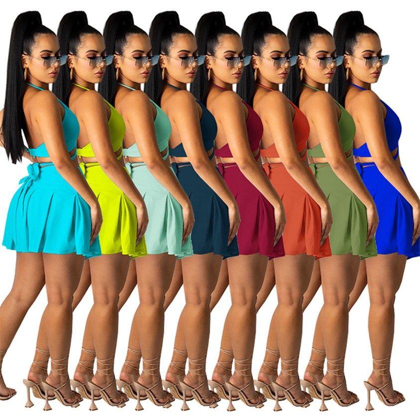 Donne 2pcs Dress Plain Summer Dresses Tennis Tracksuit Tennis Halter Halter senza spalline Crop Top Mini Gonne Minisca Minisca Piegata Abiti da festa Sexy Night Clubwear Beach Gonna 5261