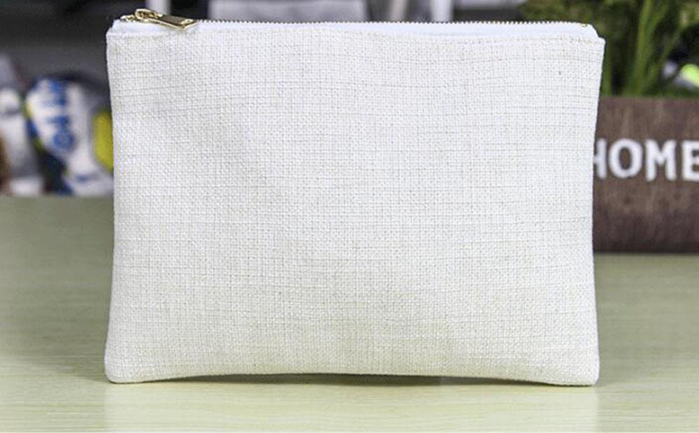 10 шт. 16 * 23см Золотая молния Косметическая сумка Сублимация белый пустой хлопчатобумажная льняная сумка