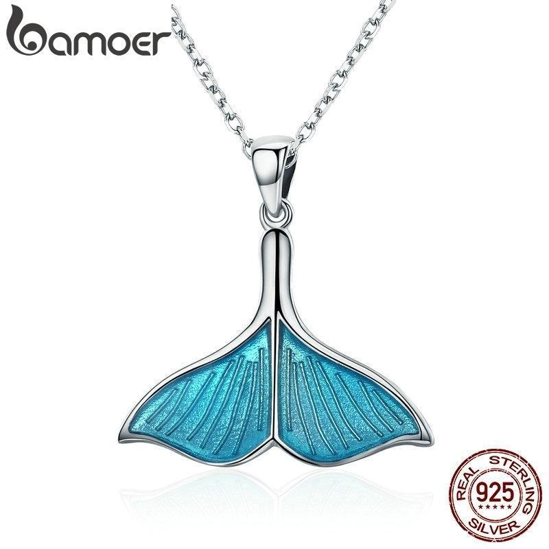 الجملة bamoer 925 فضة المحيط البحر الأزرق المينا الأسماك الحوت الذيل حورية البحر قلادة القلائد المرأة الفضة والمجوهرات brincos LJ201