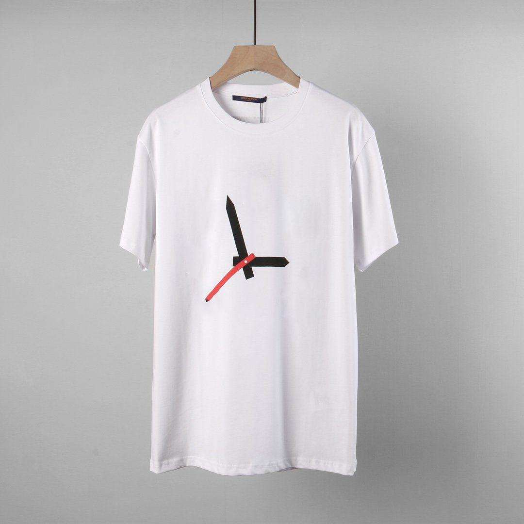 2021 Fransa Paris Son Moda Stil Saat El Mektup Resim Baskı Rahat Bayanlar T-Shirt Minimalist Tarzı Vahşi Gevşek Beyaz Erkekler
