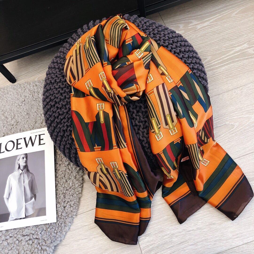 70-180 см Бренд шарфы женские старшие длинные однослойные шифоновые шелковые шали модный туризм мягкий дизайнер роскошный подарок печать шарф