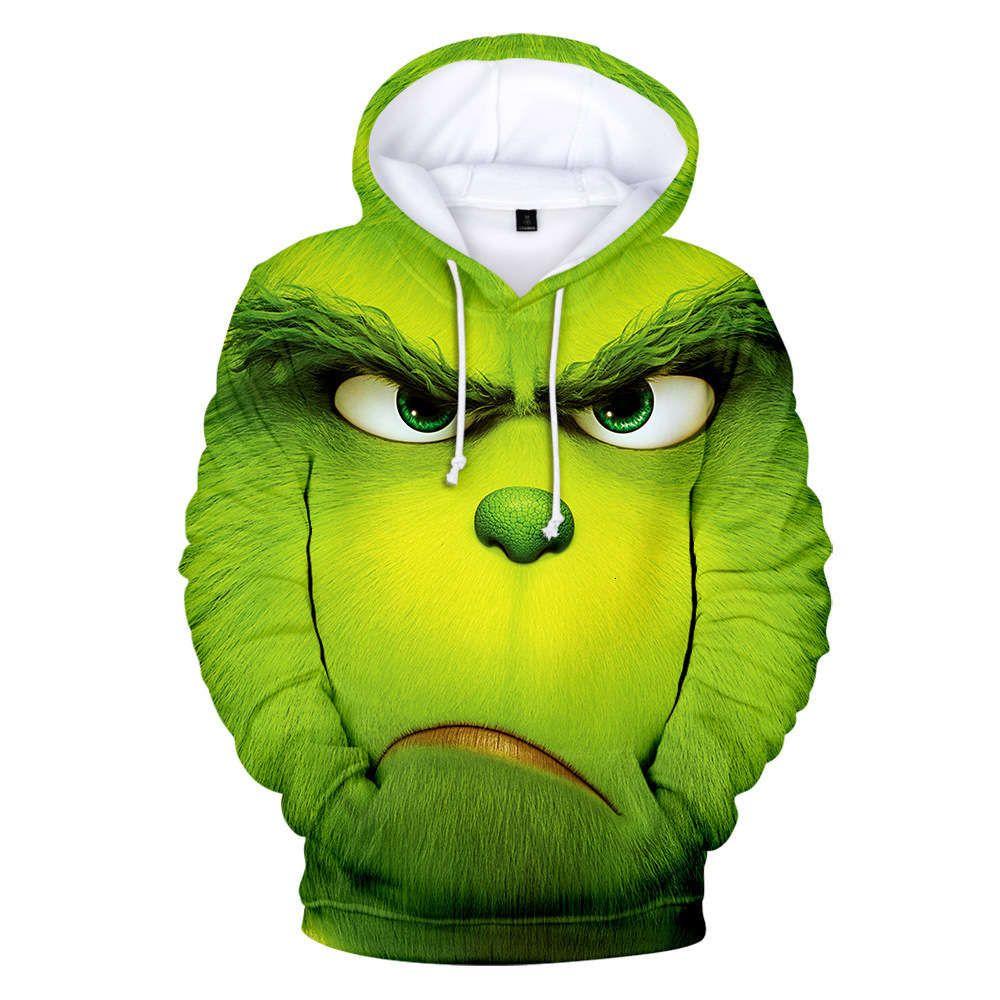 2021 Рождественские косточки зеленый меховой монстр 3D цифровой печатный свитер с капюшоном человек