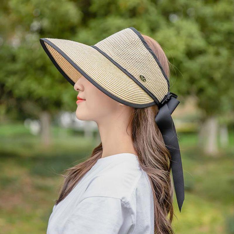 Verão Sun Visor Palha Woven Woven Sunscreen Mulheres Senhoras Dobrável Brim Grande Brim com Back Bow Knot Ribbon 28GD J0226
