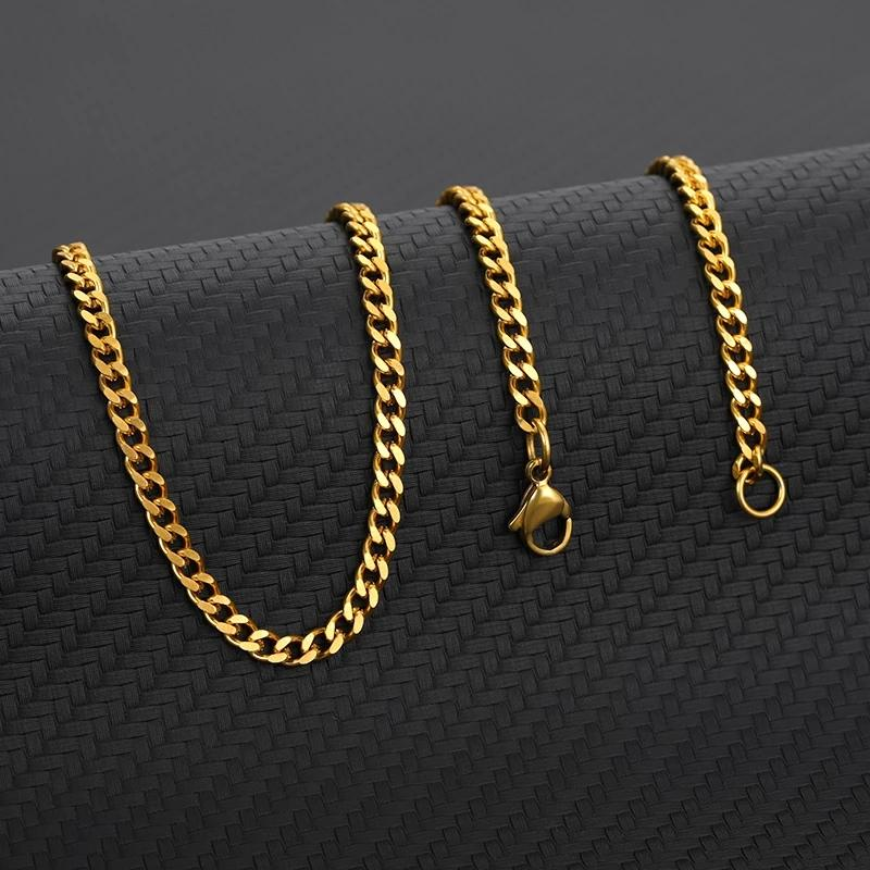 Punk Stainless Steel Necklace for Men Women Hone Curb Cuban 4MM Width Link Chain Chokers Gold Silver Color Neckalce Jewelry BF10