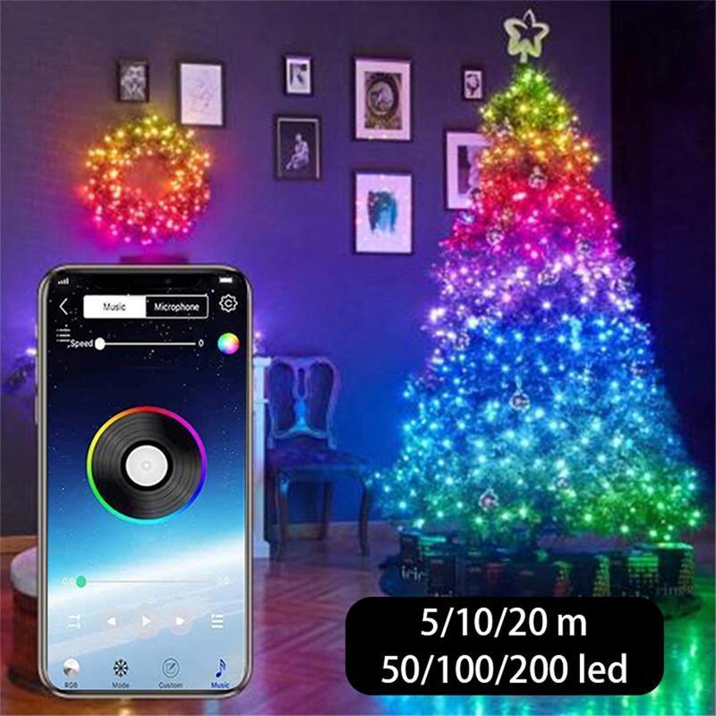 Luz de decoração da árvore de Natal personalizada Smart Bluetooth LED personalizado luzes de string app de controle remoto LED luzes de corda
