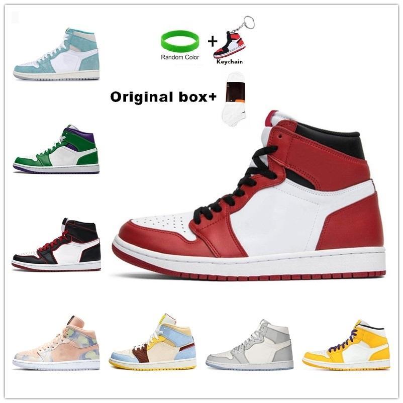 [Con caja] AIR JORDAN 1 MID SE AJ1 shoes Jumpman 1 para hombre zapatos de baloncesto retorcido TOPTBOARD UNC 1S Top Gold Top 3 Cactus Jack Obsidian Banned Hombres Zapatillas