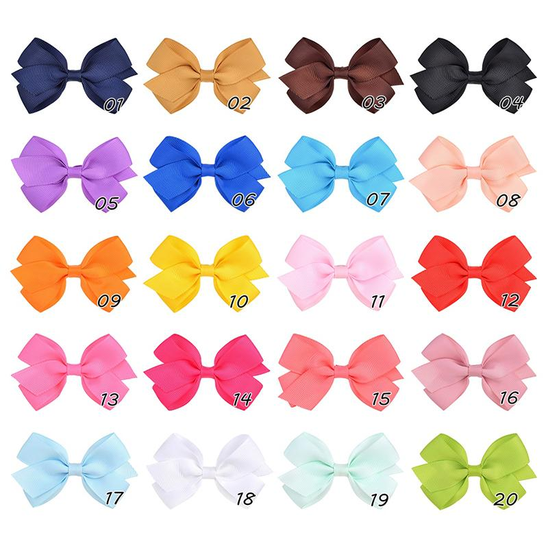 20Colos Solid Ribbon Bows With Clips For Girl's Hair Bows Boutique Hair Clips New Handmade Bowknot Clips Kids Hair Accessories