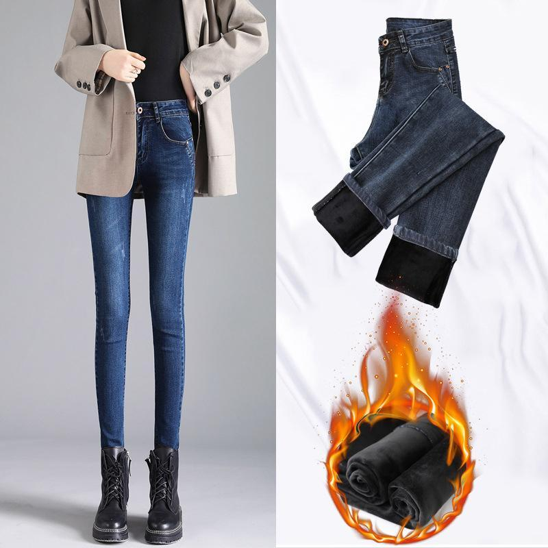 Xisteps DONNE DONNE DONNA Jeans Velvet Femmina Skinny Stretch Pantaloni Pantaloni a matita Pantaloni da donna inverno caldo denim Sexy leggings 2020