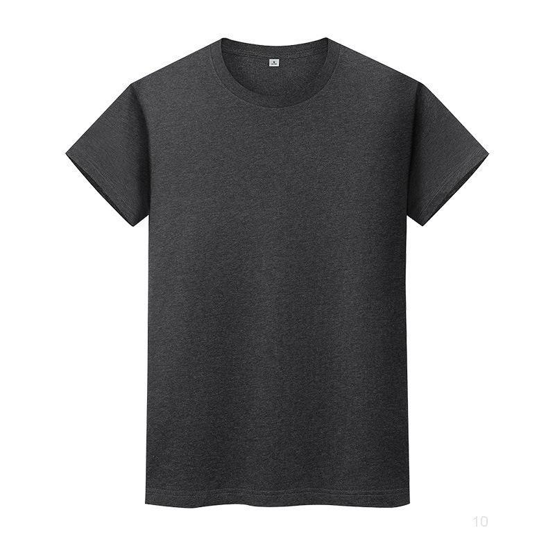 Nouveau t-shirt de couleur solide ronde en coton d'été Chemise à manches courtes à manches courtes et à manches longues à manches longues