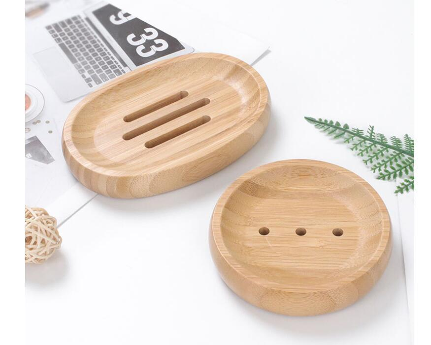 DHL50pcs Multi Styles Natural Bamboo Soap Dishes Tray Holder Storage Soap Rack Plate Box