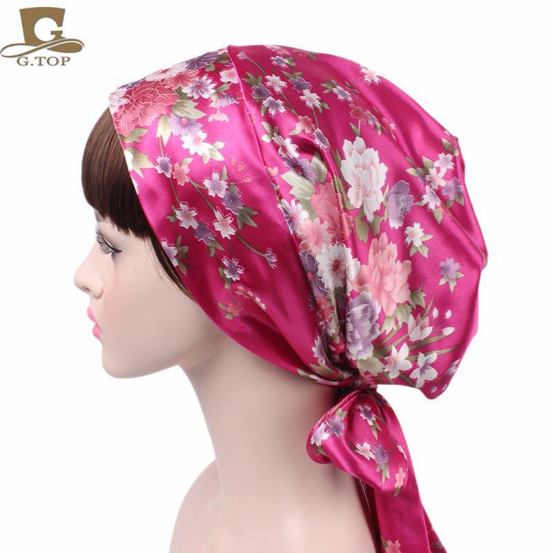 Designer di lusso 21SS in raso da donna in raso stampato in raso in fiocco cappello notturno notturno chemioterapia cappello lungo cappello da treccia