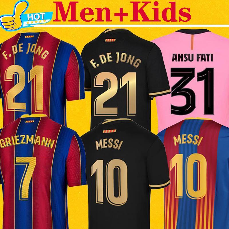 Barcelona maillot de foot 2021 2022 MESSI GRIEZMANN F. DE JONG GRIEZMANN DEMBELE Maillots 20 21 maillot de football BARCA hommes + enfants