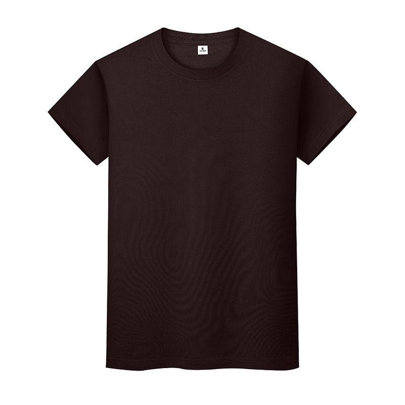 Nouveau t-shirt de couleur solide ronde Colder Summer Coton T-shirt Homme à manches courtes et femmes à manches longues 2A0xi