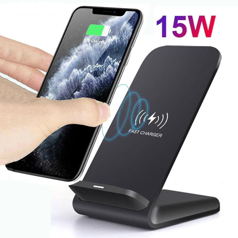 15W Wireless Charger Stand For iPhone X XS MAX XR 11 Pro 8 Samsung S20 S10 S9 Fast Charging Dock Station