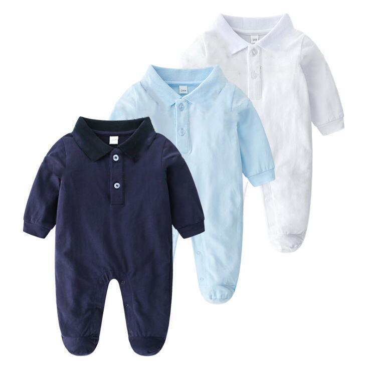 الرضع السروال القصير الأكمام مصمم الاطفال ملابس فتى قطعة واحدة العلامة التجارية فتاة ملابس الطفل القطن 3 ألوان 3-24 م