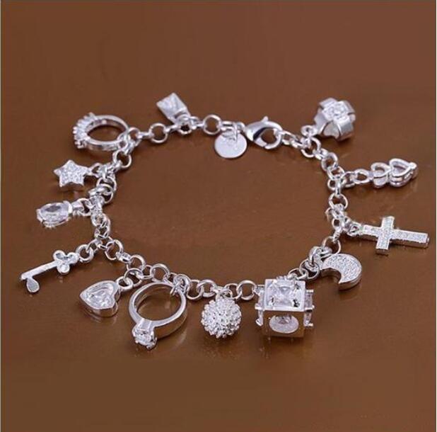 DMSB144، سوار مطلي بالفضة من الفضة الاسترليني، 925 الفضة سوار المجوهرات، 6pcs / lot
