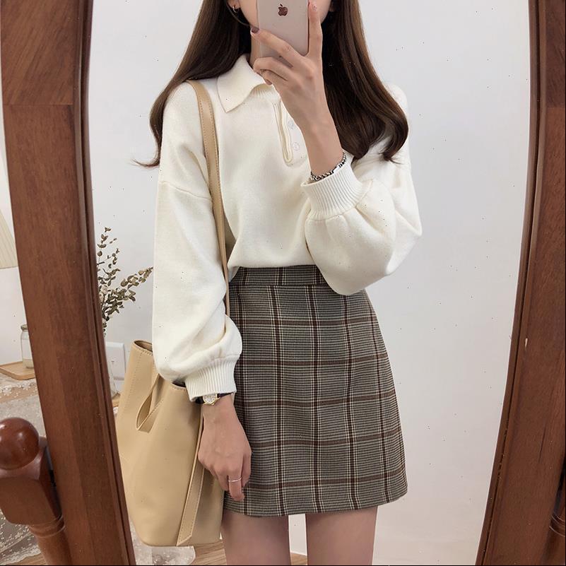 Свободный повседневный сплошной цвет ленивый ретро свитер женский корейский хараджуку женские свитеры японские каваи ulzzang одежда для женщин