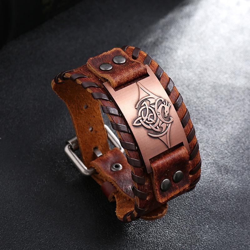 Viking Dragon Amulet Metallo metallica Artigianato vintage Braccialetti Braccialetti Braccialetti Uomo Braccialetti Nordic Nordic National Genuine Cinturino in vera
