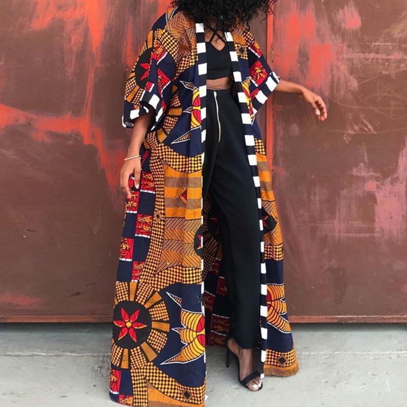 Женщины Длинные Требовины Мода Африканский Стиль Уличная Одежда Негабаритный Кардиган Весна Осень Одежда Винтаж Флористический Принвар