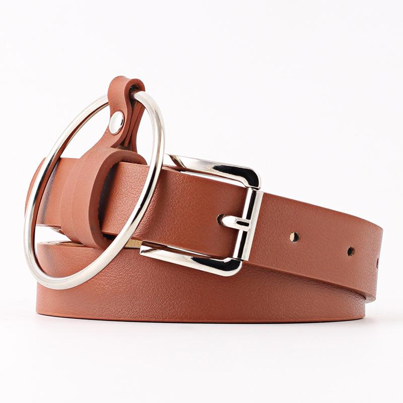 Fashion Punk O-ring Female Leather Square Metal Pin Buckle Straps Solid 5 Color Ladies Waist Jeans Belt for Women