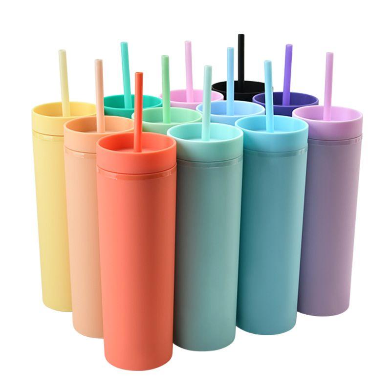 16oz Acrílico Tumblers Matte Colores Doble Pared 500ml Tumbler Café Beber Plastic Sippy Taza con pajitas