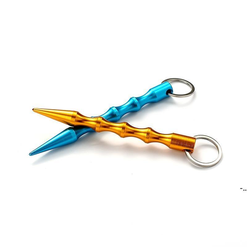 Алюминиевая самооборона Брелок для алюминия Mental Stick Автомобильные брелки Личная безопасность ключей Chape Charm Key Key Ring DHB5474