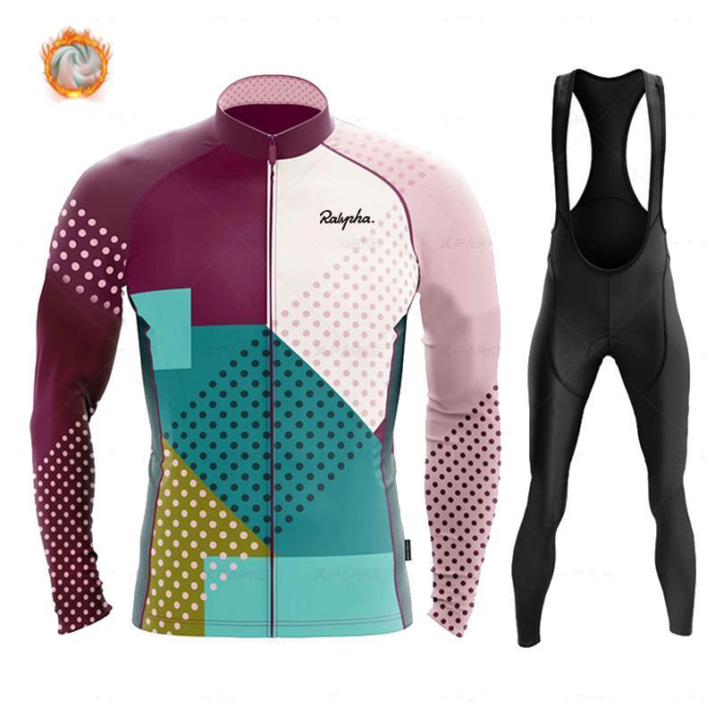 Гоночные наборы 2021 человек MTB одежда нагрудник брюки установить зимний термический флис велосипедные одежды мужчин джерси костюм на открытом воздухе велосипед ропа Ciclismo raphful