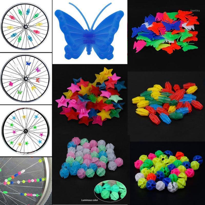 Luces para bicicletas Accesorios de bicicletas Repuestos Rueda Rueda de plástico Hacer cuentas niños niños clip coloreado decoración1
