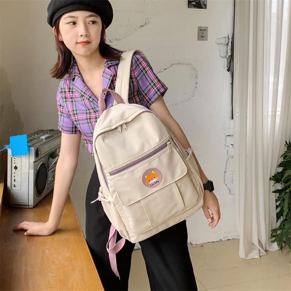 2021 Schoolbag Kadın Moda Kampüsü Katı Renk Oturucu ve Kıdemli Lise Öğrencileri İçin Çok Yönlü Sırt Çantası
