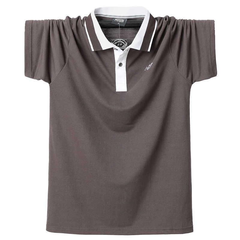 Erkek Şerit Polo Gömlek Yaz Rahat Pamuk Kısa Kollu Gömlek Homme 5XL Artı Boyutu İş Çalışma Erkekler Tees Tops