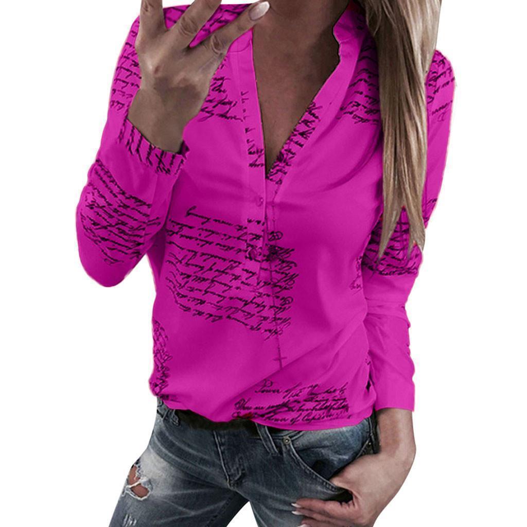 Camisa de las mujeres sólidas en V cartas de cuello impresión camisas para botones de manga larga tops blusa elegante algodón blusas