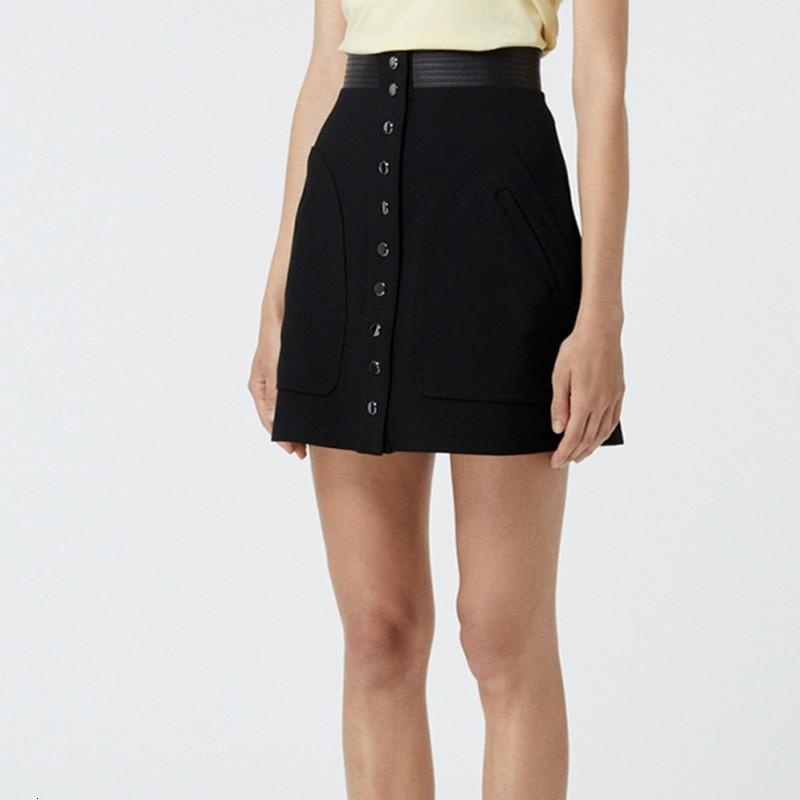2021 черный шить короткие юбки женские a-line новая женщина мини-юбка с кнопками pftd