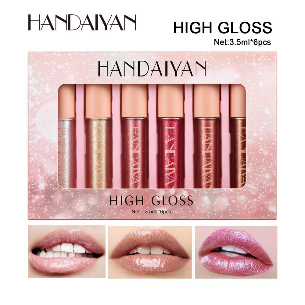 Handiyan 6 Piece Lip Gloss Set Set Gold Shiny Gold Evidenziatore Idratante Metallico Diamante Metallico Nutriente Trucco perlato Trucco Trucco Lipgloss