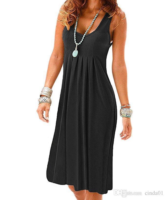 2021 Новое платье Sundress без рукавов чистое цветное летнее время Большой размер праздник ветер повседневная длинная юбка