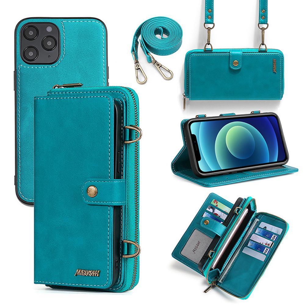 Portafoglio a portafoglio Megshi Staccabile Zaino Forte Assorbimento Cassa del telefono in pelle per iPhone 11 12 Pro Max Samsung Galaxy S9 S10 S21 Huawei P20 P30 P40 Mate20 Mate30
